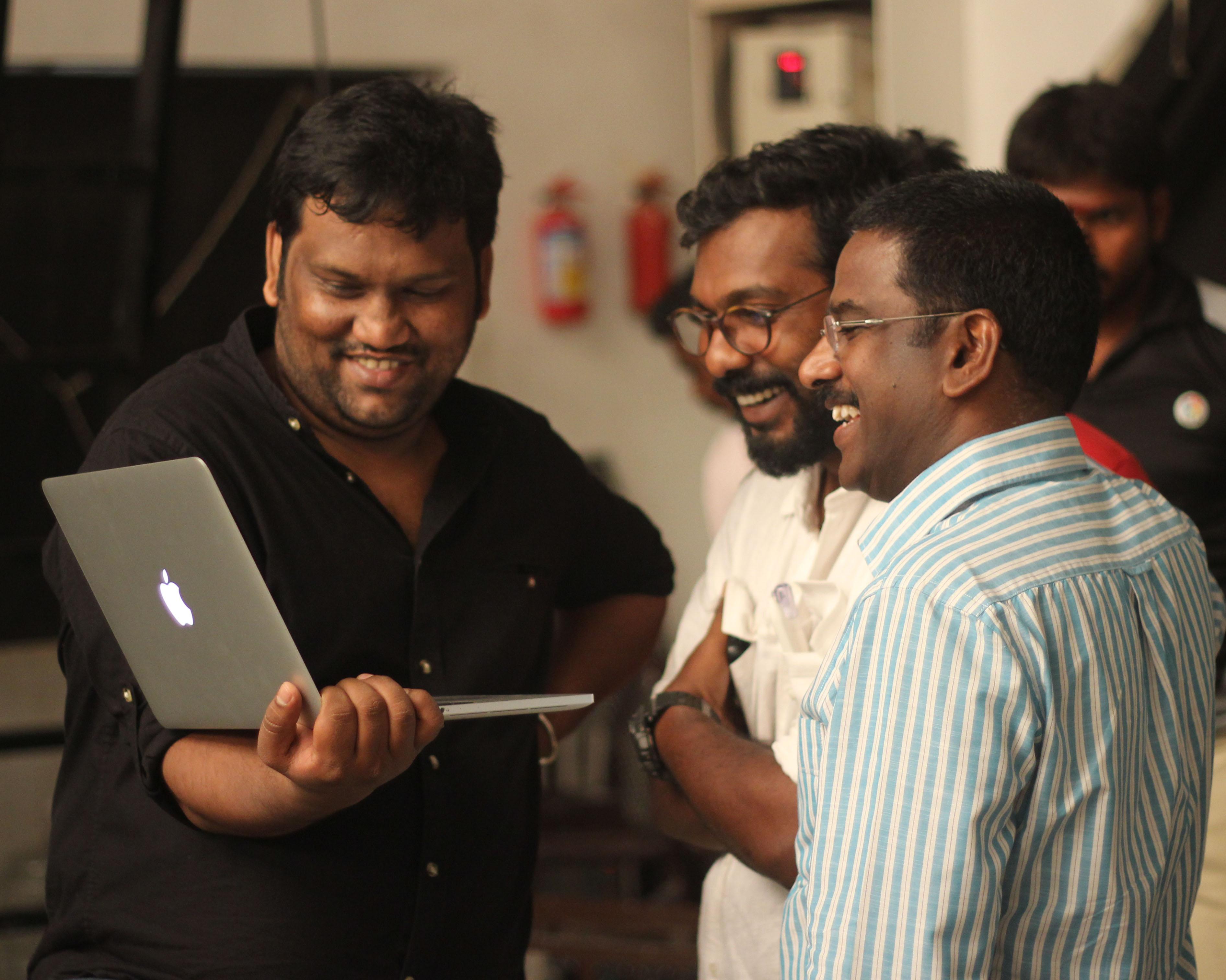 Mr. Kathiravan With Director Sleva & Camera Man Sanu John Varghese