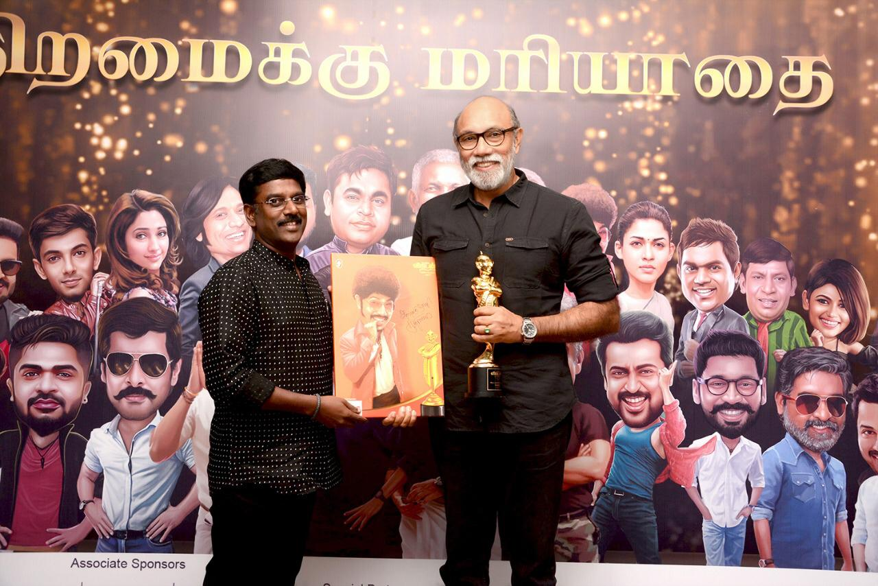 Mr.K.V.Kathiravan with the legendary Actor Mr.Sathyaraj @ Anandha Vikatan Cinema Awards 2018.